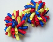 Back to School Korker Bow Hair Clip - Primary Colors - Red, Yellow, Blue, Mini Korker, Large Korker