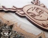 Laser cut wood brooch (Model: Deer)