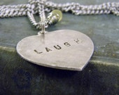 Stamped Laugh Heart Charm Necklace Frosted Yellow Briolette Valentine's Day Gift
