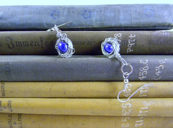 Reserved for Rita Wrapped Wire Single Blue Pearl Egg Silver Birdnest Earrings Valentine's Day Gift