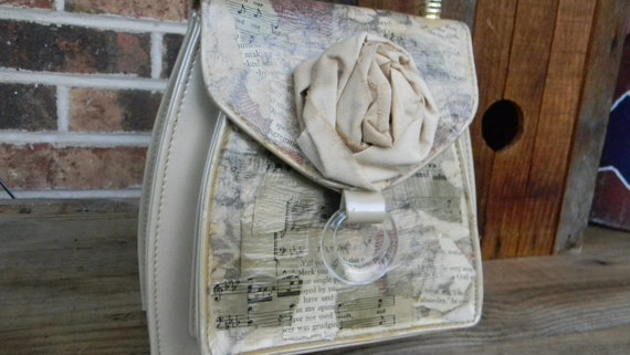 Altered Decoupaged Pearl White Vinyl Purse Mother's Day Gift  Handbag Vintage Sheet Music Buttons  Rose