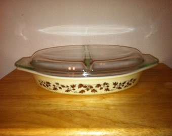 Gold Acorn Oval Divided Pyrex Dish and Cover