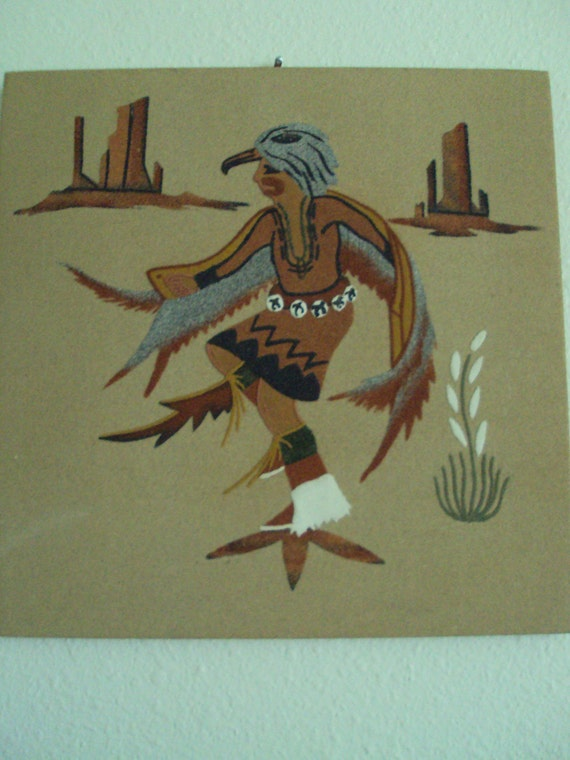 Eagle Dance Sandpainting by Gracie Dick signed on the back