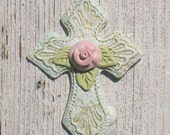 Shabby Pale Aqua Pink Rose Cross Wall Hanging/Decoration/Ornament