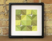 Geometric Paper Collage in Greens