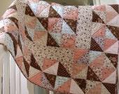 handmade baby patchwork quilt  crib  childs' quilt  pink blue brown triangle pattern