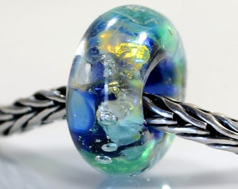 Fantasia...Handmade Artisan lampwork charm bracelet bead with fine silver detail SRA Can be silver cored on request