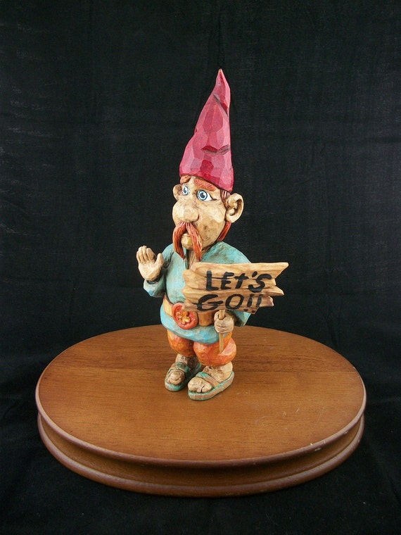 Gnome Figurine made in Maine Detailed Hand Carved & Painted