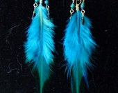 Aqua Turquoise Feather Earrings with Swarovski Crystals