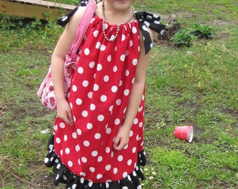 Polka dot red black ruffle pillowcase dress ,girls,toddler  infant 3mos,6mos,9mos,18mos,24mos,2t, 3t custom made.