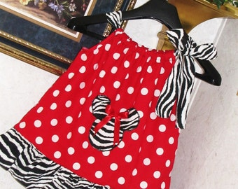New  handmade red polka dot ruffle zebra minnie mouse pillowcase dress CUSTOM MADE 3mos up to 7y