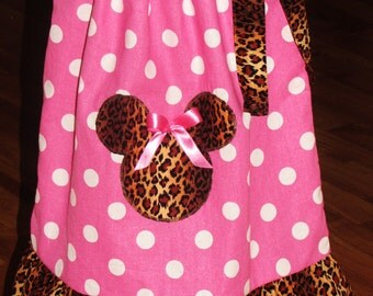 Custom handmade hot pink polka dot leopard minnie mouse pillowcase dress 3mos up to 6y fast shipping