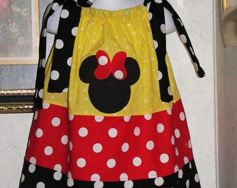 Free headband handmade yellow polkadot red polka dot black polka dot minnie mouse applique pillowcase dress 3mos up to 6y