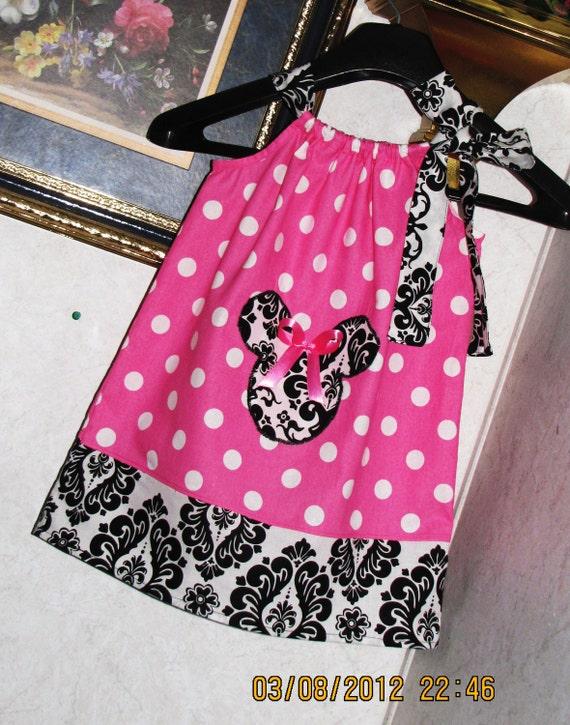 Custom handmade minnie mouse damask  polka dot  pink ribbon pillowcase dress,