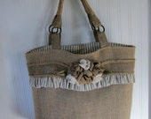 Burlap Flowers Tote Purse Bag