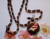 Locket Necklace, Crystal and Copper Bird Locket