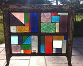 REcycled Window Frame with stained glass for garden or indoors