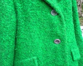 SALE Vintage 1960's Winter Fuzzy Green EMERALD Coat Jacket Livingston Bros