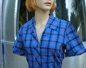 SALE Vintage 1950's Blue Cobalt PLAID orange House Dress Large Size Viva Las Vegas