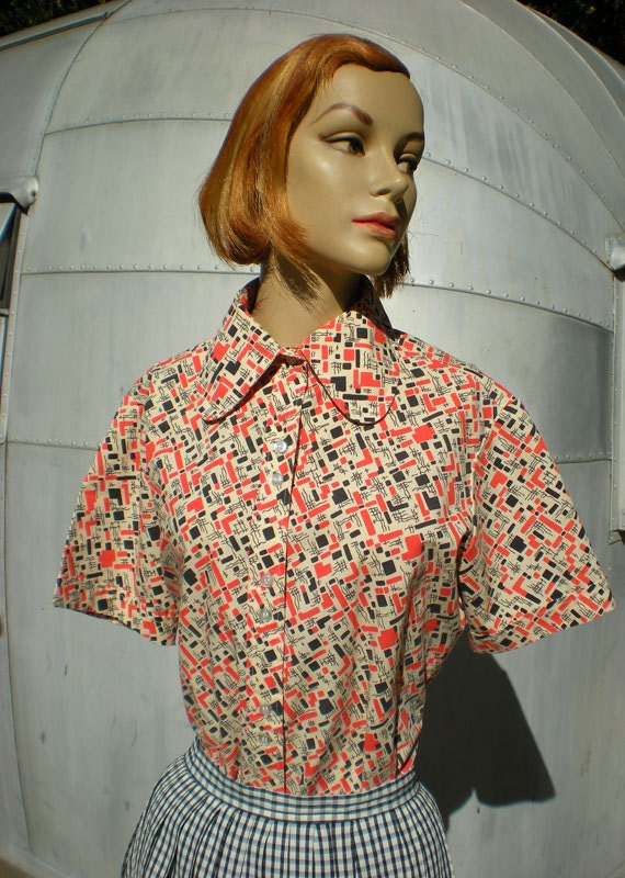 Vintage 1950's 60's Atomic Novelty Shirt Orange Blue White