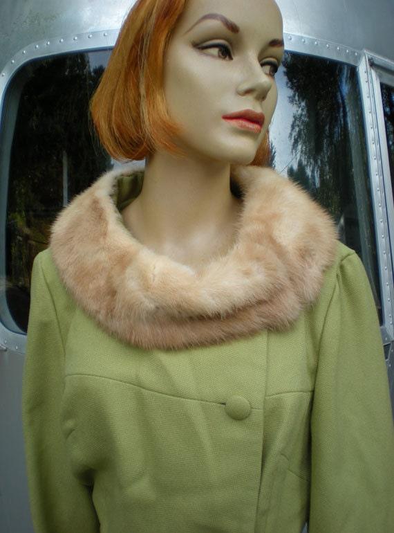 Vintage 1950's  60's Designer George Brown Originals Wool Suit Celery Color Fur Collar