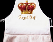 """Vintage """"Royal Chef"""" Apron  -- Fully adjustable, mid length ANY COLOR IMAGE"""