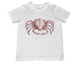 Child Crab Vintage Illustration TShirt - color choice, personalization available - youth sizes xs, s, m, l,