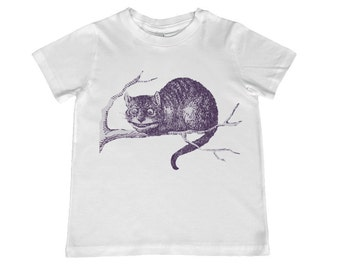 Child Alice in Wonderland Original Illustration Cheshire Cat TShirt - color choice, personalization available - youth sizes xs, s, m, l, xl