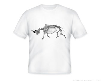 Awesome Rhino Skeleton TShirt  -- other tshirt color and personalization available - adult sizes S-3XL