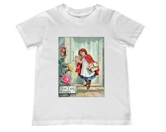 Child Vintage Little Red Riding Hood illustration TShirt - - youth sizes 2T-4T,  xs, s, m, l, xl