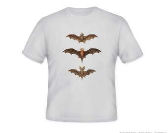 Fantastic vintage Bats Illustration on Adult Tshirt  -- other tshirt color and personalization available - adult sizes S-3XL
