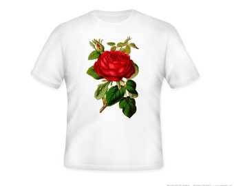Beautiful Vintage Red Rose Illustration on Adult Tshirt  -- other tshirt color and personalization available - adult sizes S-3XL