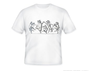 Whimsical Vintage Dancing Animals image on Adult Tshirt  -- other tshirt color and personalization available - adult sizes S-3XL