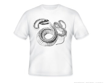 Fantastic Vintage Snake Skeleton illustration on Adult Tshirt  -- other tshirt color and personalization available - adult sizes S-3XL