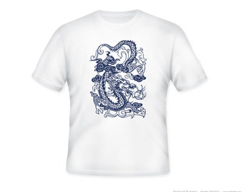 Beautiful Chinese Dragon Cutout 2 on Adult Tshirt  -- other tshirt color and personalization available - adult sizes S-3XL