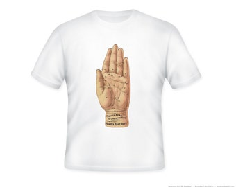 Odd and fun Palmistry vintage Root Beer illustration on Adult Tshirt -- other tshirt color and personalization available - adult sizes S-3X