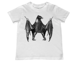 Awesome Vintage Bat illustration on kids TShirt - personalization available - youth sizes xs, s, m, l, xl