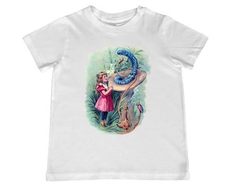 Alice in Wonderland with Caterpillar illustration on kids TShirt -  personalization available - youth sizes xs, s, m, l, xl