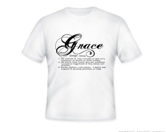 "Definition ""Grace"" typography  on Adult T Shirt, S-5XL"