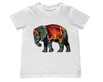 Vintage Circus Elephant  kids TShirt - youth sizes 2T t- 4T, xs, s, m, l, xl