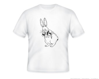 Adorable Bunny Drawing on Adult T-Shirt, Sizes S-5XL