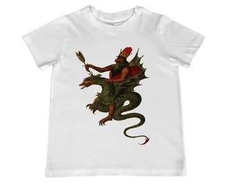 Child Medieval Dragon Rider TShirt - color choice, personalization available - youth sizes xs, s, m, l, xl