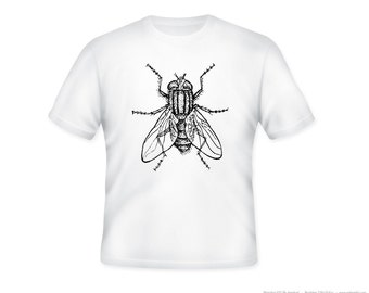 Cool Vintage House Fly Drawing on Adult Tshirt  -- other tshirt color and personalization available - adult sizes S-3XL