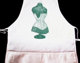 Gorgeous Vintage Dress Form Illustration Apron -- Fully adjustable, mid length ANY COLOR IMAGE