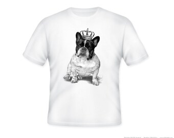Fun  Royal Bulldog with Crown Illustration on Adult Tshirt  -- other tshirt color and personalization available - adult sizes S-3XL