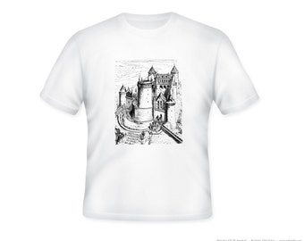 Vintage Fairy Tale Castle Illustration Adult Tshirt -- other tshirt color and personalization available - adult sizes S-3X
