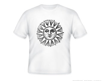 Vintage Ancient Sun Drawing Adult Tee-- other tshirt color and personalization available - adult sizes S-3XL