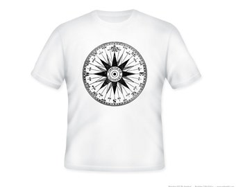 Vintage Mariner's Nautical Compass Adult Tshirt  -- other tshirt color and personalization available - adult sizes S-3XL