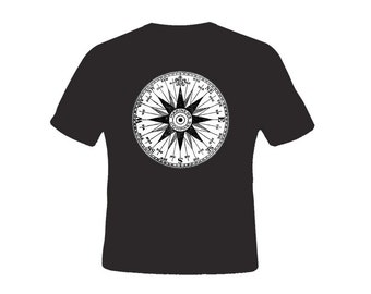 Vintage Mariner's Nautical Compass BLACK Adult Tshirt  -- other tshirt color and personalization available - adult sizes S-3XL