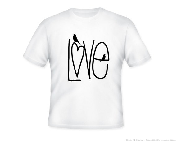 Love with Birdies Adult Tee, image in ANY COLOR